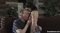 Teen dauther Petra Blair wants her stepdads attention and his cock so she started flirting with him and pounded her tight pussy.