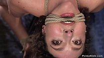 Skinny slave in extreme hogtie fingered