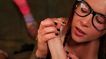 Image: Felicity Feline School girl blow job with glasses and braids