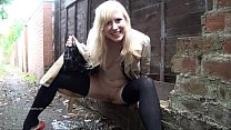 Blonde babe Satine Spark masturbates in a park and public nudity of young daring Preview