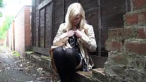 Blonde babe Satine Spark masturbates in a park and public nudity of young daring