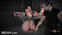 Caged babe coercive to give blowjob preview image
