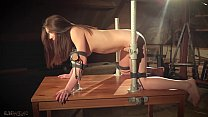 Naked teen tied up in chains waiting to be fucked
