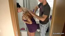 German Step Mom Fuck in Bathroom and gets Cum in Mouth