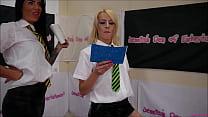 Tag-Team School-Uniform Bra and Panties Match (...