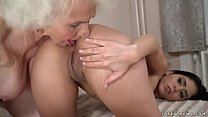 Lusty granny gets wet by a y. girl