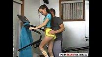 Athletic skinny little teen handjob