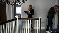 Sexy real estate agent MILF threesome with a client