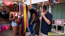 Thick ebony babe fucks in a store with the empl...