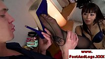 Foot fetish babes in trio footworshiped by luck...