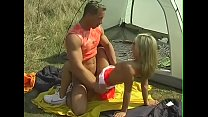 Natural friends camping and have sex