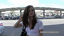Brunette coed Lily Carter takes some dick from a stranger