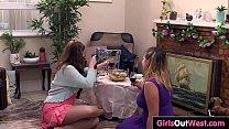 Hairy lesbian Darcy licked by Christina thumbnail