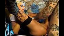 Busty blonde milf does anal in fishnet stockings thumbnail