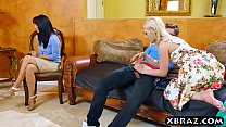 Teen couple seduce mature MILF to engage in a threesome preview image