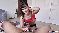 Skinny brunette stepmother handjob and blowjob