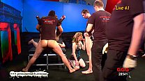 Blonde Teen and Brunette MILF gangbang Preview
