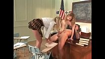 Two blonde naughty girls suck teacher's cock af...