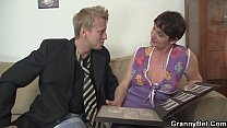 Hairy granny in black stockings Preview