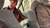 Chubby brunette ass fucked in threeway with Papy Voyeur on a car Preview