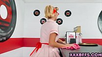 Blonde dressed up as a pin up waitress and gets fucked