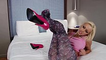 Brea strips off her new colorful see through leggings for Pantyhose Academy