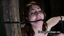 Strapped to a post babe hard flogged