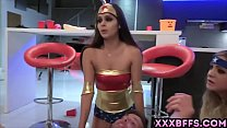 Teen girls in sexy costumes blows and fucks with a lucky guy