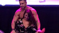 Male stripper gives special treatment to hottie busty girl on stage