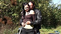 Raw biker drill innocent young babe in public preview image
