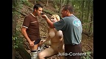 Threesome fuck in the forest