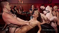 Two female slaves dominated in orgy