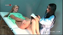 Lusty blondie passing the gynecologist exam