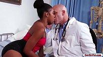 Ebony patient sucks her doctors cock