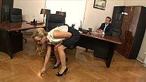 Boss fucks his stunning blonde secretary Aleska Diamond hard on his office desk's Thumb