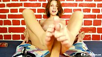 Hot stepsister finishes him with a footjob preview image