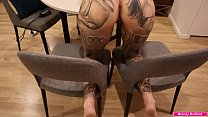 BIG TIT Big Thick ASS Tattooed Milf Gets Fucked Hard While Trying To Film Herself with Her Legs Spread On Two Chairs POV - Melody Radford