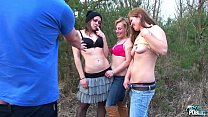 Hardcore foursome in public with three girls next door