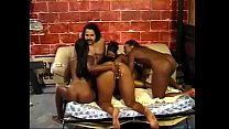 Four ebony chicks are licking each other's pussies and getting one cock for all