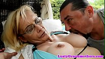 Spex granny loves getting anally banged