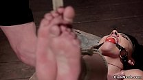Busty squirter feet tormented in bondage