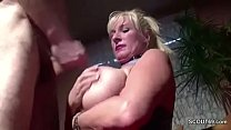 The horny MILF neighbor with the big tits fucked