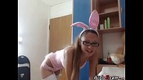 Hot bunny shows her boy
