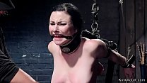 Image: Brunette in doggy device is anal hooked