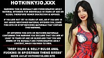 Deep dildo and belly bulge anal fucking in spiderman theme dress Hotkinkyjo