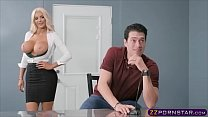 Busty blonde assistant in high heels gets fucked hard preview image