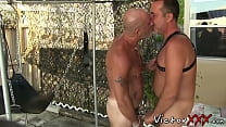 Hardcore outdoor raw sex action with two mature gay hunks