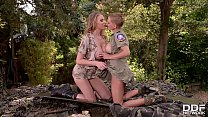 Horny lesbian soldiers Loulou Petite&Danielle Maye ride huge sex toys