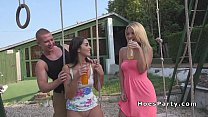 Two amateur babes partying in backyard