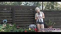 Granny Has Sex With A Young Guy In The Shade's Thumb